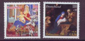 J20602 Jlstamps 2001 germany set mnh #b895-6 christmas