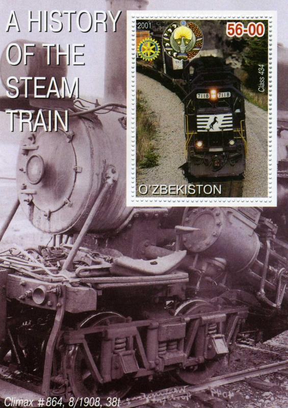 UZBEKISTAN 2001 Steam trains Rotary international s/s Perforated mnh.vf