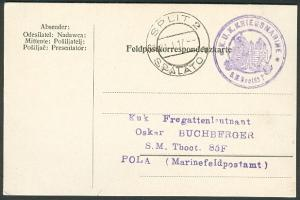 """1917, Hungary Torpedo Boat """"63T"""" card, purple circular"""