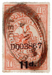 (I.B) London & North Western Railway : Parcel Stamp 11d (Leicester)