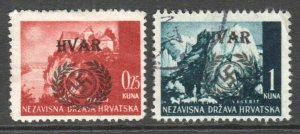 CROATIA HVAR UNLISTED LOCAL OVERPRINT SOUND F-VF POSTALLY USED x2 #1