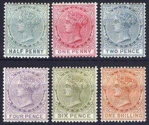 Nigeria Lagos 1884 1/2d-1s Defin Wmk CA SG 21-26 Sc 13/31 LMM/MLH Cat £266($356)