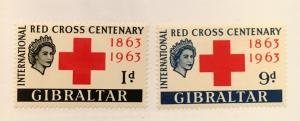 Scott 162-163  Gibraltar Red Cross Centenary-Mint