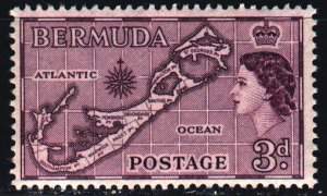 Bermuda. 1953. 135 from the series. Geographical map of the island. MNH.