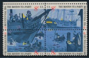 #1480-83c BLK/4 8¢ BOSTON TEA PARTY BLACK (LITHO) OMITTED HV2781