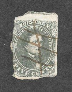 Confederate States, CSA 1-AB, Stone 1, (Scott #1 c) used, pen cancel, Olive, NG
