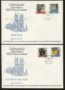 Lot of 8 Official First Day Covers Wedding of HRH Prince Andrew & Sarah 1986