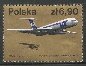 POLAND 2313  HINGED,  LOT, POLISH AIRLINE, 50TH ANNIVERSARY