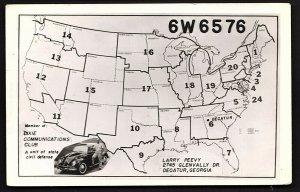 QSL QSO RADIO CARD 6W6576/Dixie Communications Club, Decatur, Georgia (Q1070)