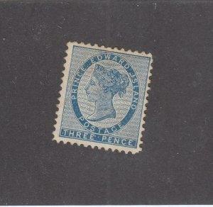 PRINCE EDWARD ISLAND # 6 VF-MH  3d QUEEN VICTORIA  BLUE CAT VALUE $20