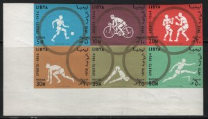 LIBYA, 263A, BLOCK OF 6, IMPERF, MNH, 1964 18th Olympic games