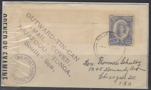 TONGA SG77 1942 2½d ULTRAMARINE USED TIN CAN  MAIL COVER
