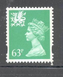 GB Wales SC WMMH65 1996 63p bright green Machin Head stamp mint NH