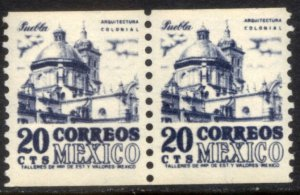 MEXICO 1003(2) 20¢, 1950 DEFINITIVE ISSUE, COIL PAIR, MNH. VF.