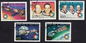 Space Cosmos Apollo-Soyuz Orbit, Astronauts - full Set of 5 Upper Volta 1975 q20