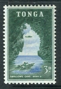 TONGA; 1953 early QEII issue fine Mint hinged 3d. value