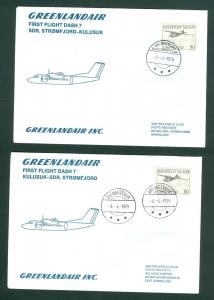Greenland. 2 F.F.Covers 1979. Greenland Air, Dash 7. Sdr. Stromfjord - Kulusuk