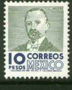 MEXICO 930a, $10Pesos 1950 Def 8th Issue WMK 300 MINT, NH. F-VF.