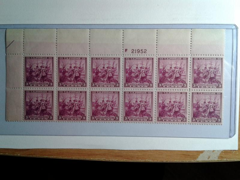 SCOTT # 836 THREE CENT MINT NEVER HINGED PLATE BLOCK OF 12 GEM