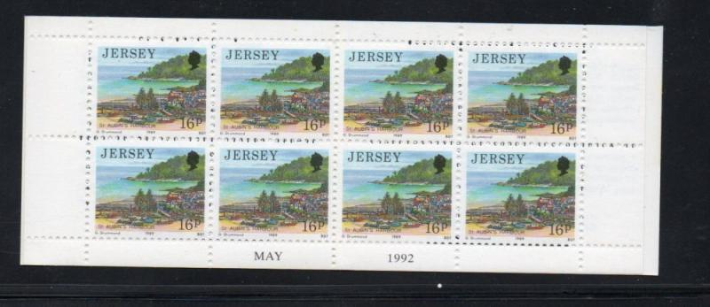 Jersey Sc 489a 1992 16p St Aubins Harbour stamp booklet mint NH