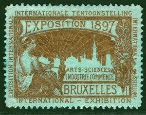 BRUSSELS EXHIBITION STAMP Belgium 1897 *GOLD* Ink GREEN PAPER Mint MM B2WHITE33
