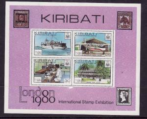 Kiribati-Sc#355a-Unused NH sheet-Ships-Boats-London-1980-