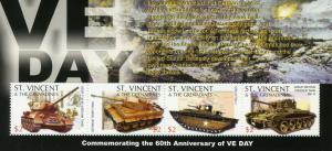 St Vincent & Grenadines 2005 MNH WWII WW2 VE Day World War II 4v MS Tanks Stamps