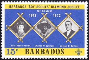 Barbados # 373 mnh ~ 15¢ Scouting - Three Portraits