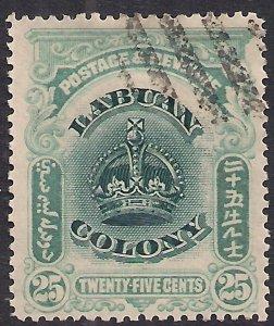 Labuan North Borneo 1902 - 03 KEV11 25ct Green blue & Green used SG 126a ( J1121
