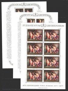 Liechtenstein. 1977. Small sheet 655-57. Rubens, nude painting. MNH.
