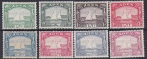 ADEN  1937  S G 1 - 8  VARIOUS VALUES TO 8A  MH