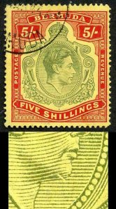 Bermuda SG118bf KGVI 5/- Pale Green and Red/yellow Line Perf 14.25 GASH in CHIN