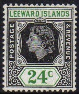 Leeward Islands 1954 24c black and green MH