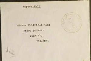 1946 Calcutta India to Ipswich England Army Forces Mail Exchange Office Cover