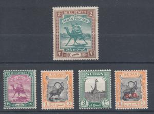 Sudan Sc 10, 31, 98, 100, O44 MLH. 1891-1951 issues, 5 different