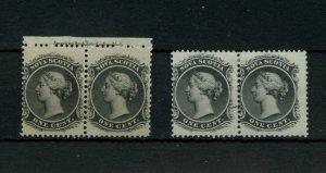 Nova Scotia pair pl imprint MNH and pair MH #8 one cent Canada mint
