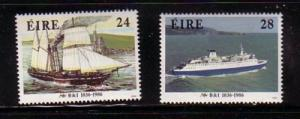 Ireland Sc 665-6 1986 Ship Steam Packet stamps mint NH