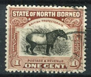 NORTH BORNEO; 1925 early Pictorial issue fine used 1c. value + Postal cancel