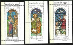 ARGENTINA 1990 ART,CHRISTMAS RELIGION YV BL 46-8 Mi BL 44-6 MNH