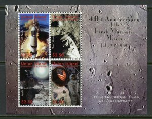 UNION ISLAND 40th ANNIVERSARY OF THE FIRST MAN ON THE MOON  SHEET II  MINT NH