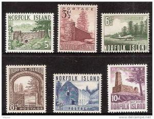 Norfolk Isl. 1953 Views Scott 13-18 complete set MLH.