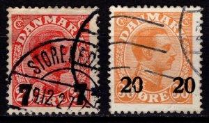 Denmark 1926-27 Christian X Def. Optd., 20 on 30o & 7 on 20o [Used]
