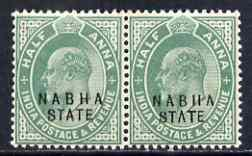 Indian States - Nabha 1903-09 KE7 1/2a green horiz pair, ...
