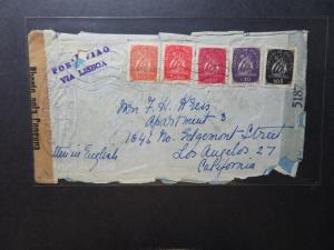Funchal WWII CMPT Censor Cover to USA / Rough Edges - Z11041