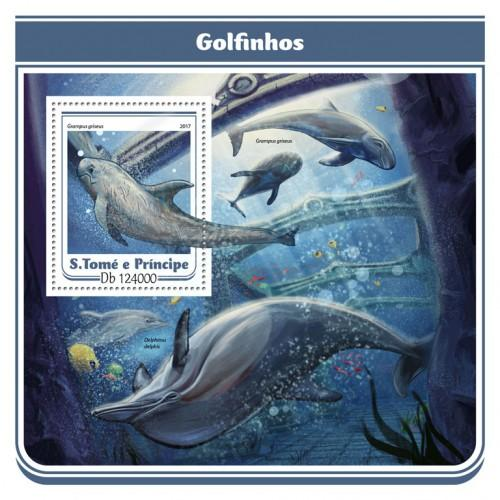 SAO TOME - 2017 - Dolphins - Perf Souv Sheet - MNH