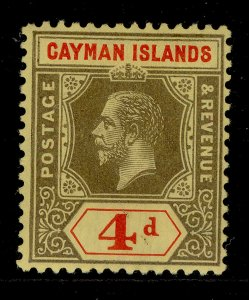 CAYMAN ISLANDS GV SG46, 4d black and red/yellow, M MINT.