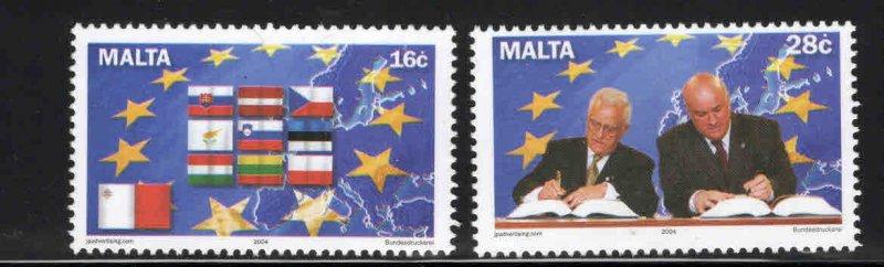 MALTA  Scott 1160-1161 MNH** EU admission set Flags etc