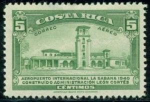 Costa Rica #C39 Air Mail Stamp 1940 5c. Airport La Sabana, Used Postmarked