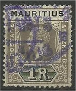 MAURITIUS, 1912, used 1r, King George V Scott 156