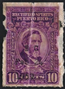 Puerto Rico #RE41 8¢ Rectified Spirits (1942) Used/Faults